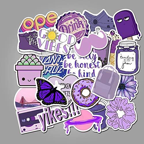 XIAMU Pegatinas Decorativas púrpuras de Dibujos Animados para Maleta DIY, monopatín, Pegatina para Ordenador portátil, Regalo para niños, calcomanías de Juguetes, 50 Uds.