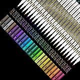 Shuttle Art メタリック マーカーペン 24色セット カラーペン 水性 速乾 フォト アルバム 手作り カード 年賀状 ガラス 木材 セラミックなどの表面にフィット コミック クラフト