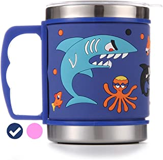 12 Oz Kids 304 Double Wall Vacuum Insulated Stainless Steel Shark Mug - Eco-Friendly - BPA Free - by F-32 Signature Collection (Shark Blue)