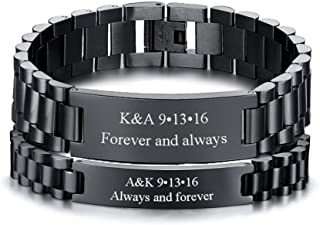 Customize Couple Jewelry Metal Stainless Steel ID Tag Watch Band Bracelet,Gift for Anniversary,8.3