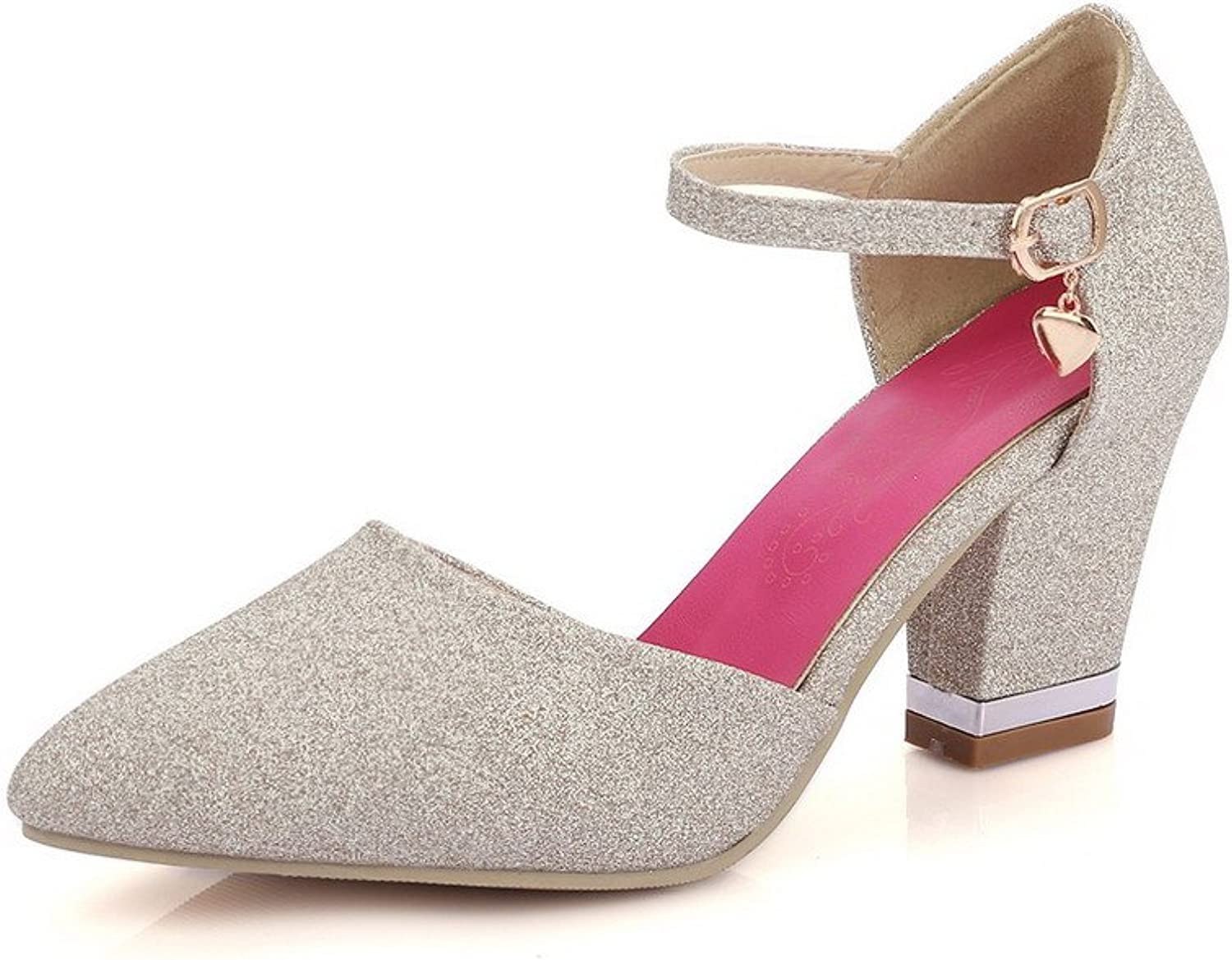 AllhqFashion Women's Buckle Blend Materials Pointed Closed Toe High Heels Solid Pumps shoes