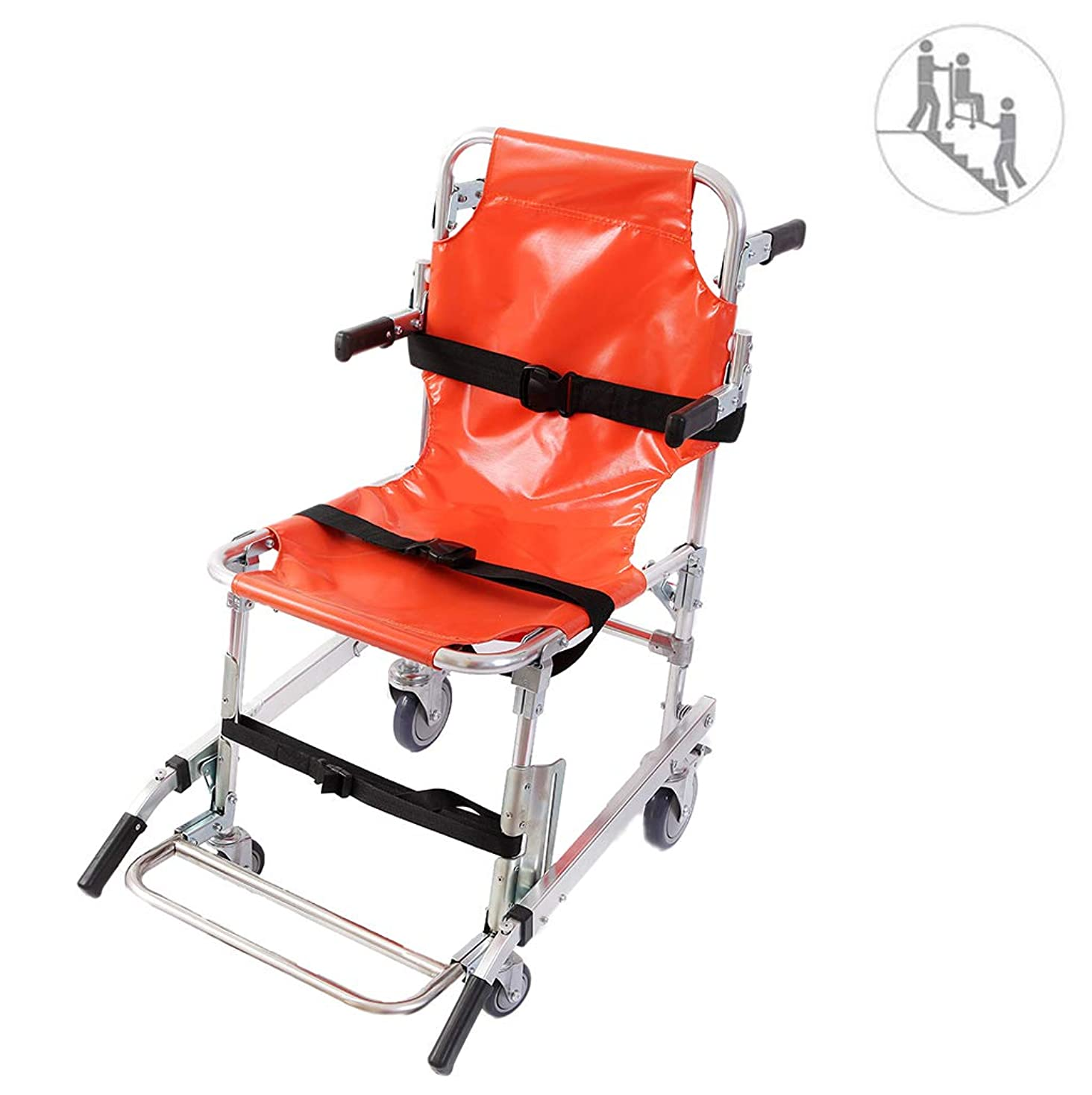 市長雄弁可聴EMS階段椅子4つの車輪で、救急車避難医療輸送椅子患者拘束ストラップ付き350ポンドの容量