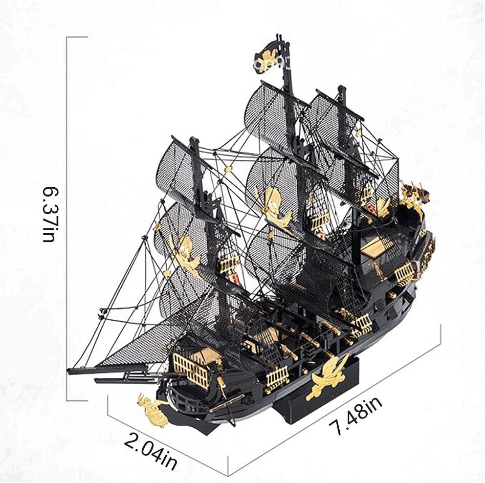 TOSUAI Black Pearl Pirate Ship with 307pcs, 3D Puzzle Led Pirate