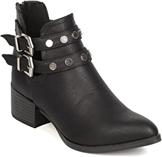 FC39 Leatherette Pointy Toe Studded Double Buckle Chunky Heel Cut Out Bootie FC89 - Black