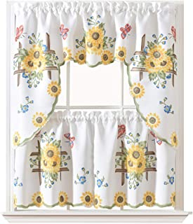 GOHD Golden Ocean Home Decor 3pcs Kitchen Cafe Curtain Set Air Brushed by Hand of Sunflower and Butterfly Design on Thick Satin Fabric (Swag and 24 inches Tiers Set)