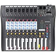 ammoon 8 Channel Mixer Digtal Mic Line Audio Mixing Console with 48V Phantom Power for Recording DJ Stage Karaoke Music Appreciation