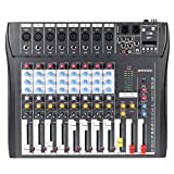 ammoon CT80S-USB 8 Channel Digtal Mic Line Audio Mixing Mixer Console with 48V Phantom Power for Recording DJ Stage Karaoke Music Appreciation