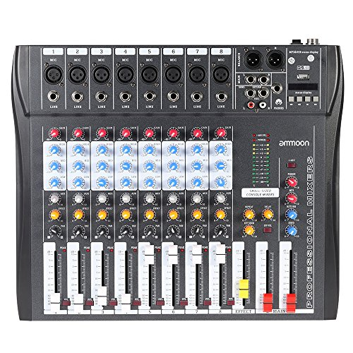 ammoon CT80S-USB 8 Channel Digtal Mic Line Audio Mixing Mixer Console