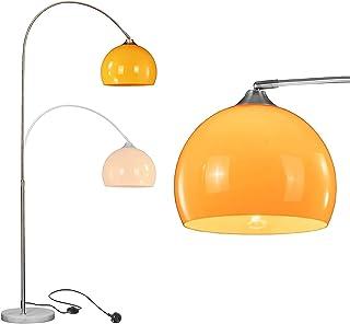 N\A ZGGYA Lampadaire d'angle Lampe Incurvée pour Salon Chambre avec Base en Marbre Finition Blanche Polie Hauteur Réglable...