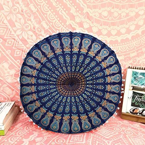 Casa Moro Indisches Yogakissen Mandala Saira Blau Ø 55cm x Höhe 12cm rund aus Baumwolle inklusive Füllung | Orientalisches Sitzkissen Zierkissen für einfach schöner Wohnen | MA4106
