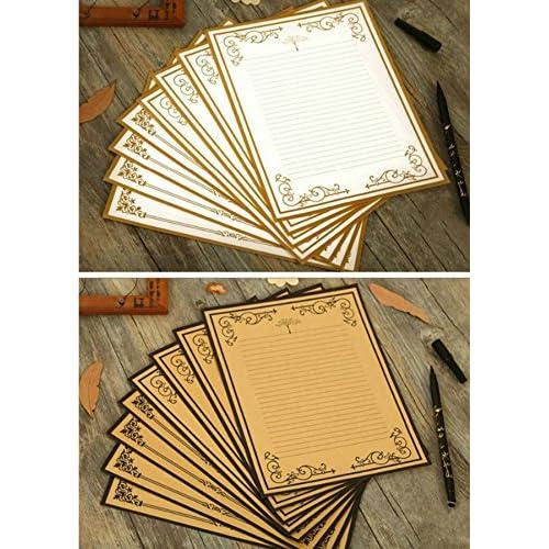 IMagicoo 64 Vintage Retro Cute Design Writing Stationery Paper Pad Letter Set (White+khaki)