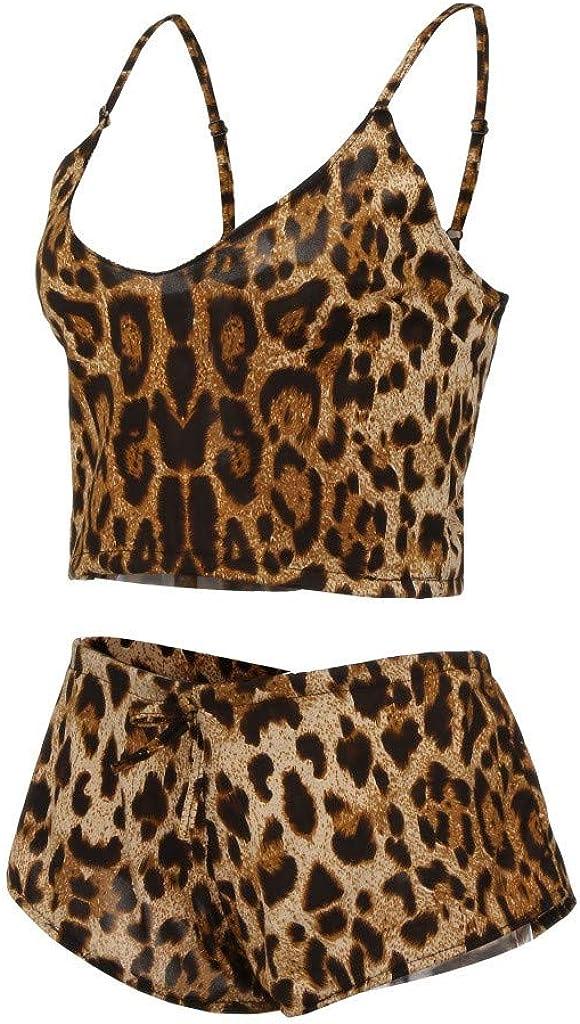 Gergeos Womens Leopard Printed Sexy Lingerie Bodysuit Underwear Sleepwear Plus Size Nightwear