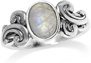 Silvershake 8X6mm Natural Oval Shape Moonstone 925 Sterling Silver Victorian Style Ring