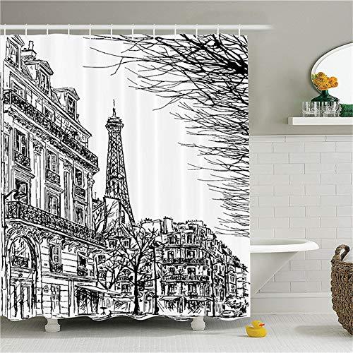 ZLWSSA Cortina de Ducha a Prueba de Agua 3D Paris Sketch de la Calle parisina con árboles y paisajes Famosos de la Ciudad Ducha de baño de poliéster arquitectónico 180x200cm