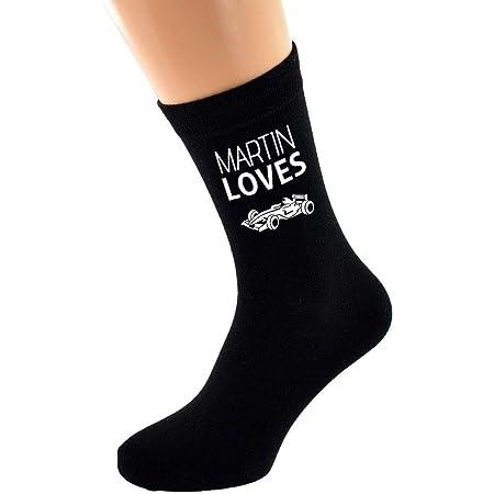 PERSONALISED NAME Loves Motor Racing Car Image printed Mens Black Cotton Socks