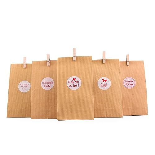 """'Cadeau Sachets Set """"Nature, 72tlg., 24pochettes cadeaux + 24autocollant + 24mini pinces en bois–Cadeau sac pour cadeaux de toutes sortes, biscuits, biscuits, etc."""