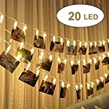 20 LED Guirlande Lumineuse photo Clip,Alimenté par batterie 2.4m LED Photo Clip Pince, Photo Clips Chaîne Light pour Pictures, Anniversaire, Saint Valentin (Blanc Chaud)