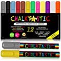 Chalk Markers by Fantastic ChalkTastic - Chalk Pens Best for Kids Art Chalkboard Labels Menu Board Bistro Boards, Window Markers, Erasable Chisel or Fine Tip Neon Colors Plus White