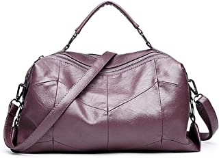 Soft Leather Boston Mobile Handbag Simple Large-Capacity Shoulder Bag Handbag Female Bag Handbags (Color : Purple)