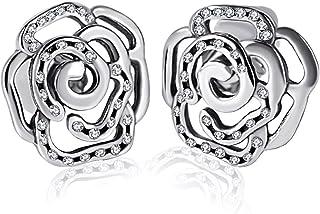 Shimmering Rose Stud Earrings, Twenty Plus Petals Flower Sterling Silver Earrings for Women Girls