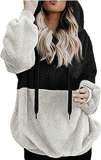 ZXCTKAHJ Zip Up Hoodies for Women Cropped Fleece Hooded Sweatshirts Oversized Long Sleeve Fuzzy Pullover Coats