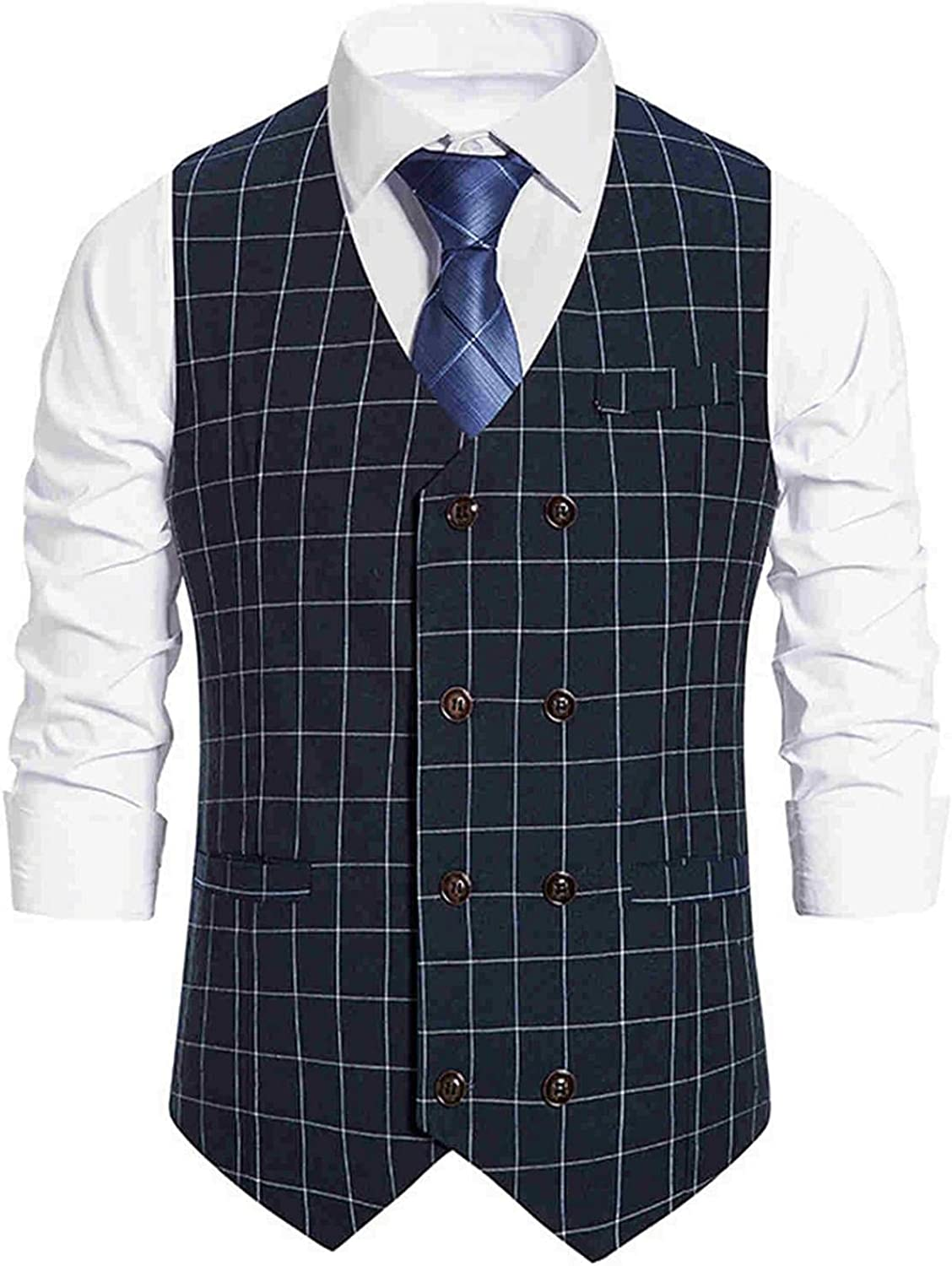 XUNFUN Suit Vest for Men Big and Tall Slim Fit V-Neck Double Breasted Plaid Casual Business Dress Waistcoat Wedding Party