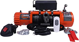 ZESUPER 12V 13000-lb. Load Capacity ATV/UTV Electric Winch Kit, Waterproof IP67 Electric Winch with Hawse Fairlead, with Both Wireless Handheld Remote and Corded Control