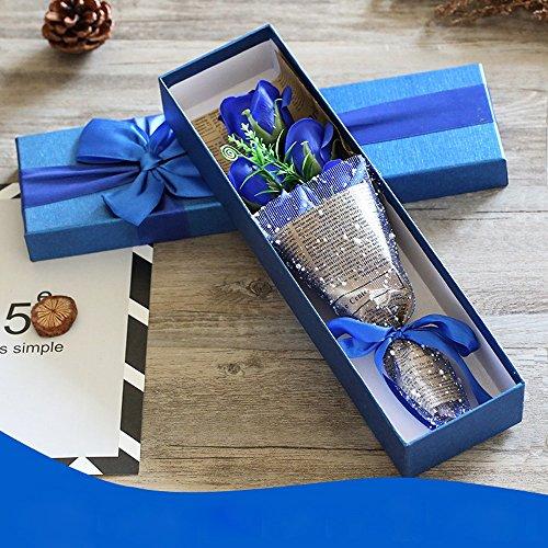 5 fleur de savon de bain de parfum de rose, boîte-cadeau pour l'anniversaire/anniversaire/mariage/conception de jour de la Saint-Valentin/fête des mères (violet) (Color : Blue)
