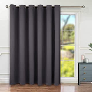 BGment Privacy Blackout Curtains for Sliding Glass Door, Grommet Thermal Insulated Darkening Room Divider Curtain for Living Room, 1 Panel (10ft Wide x 8ft Tall, Dark Grey)