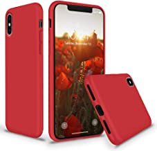 Efinito Slim Fit Liquid Silicone Back Cover for Apple iPhone X iPhone Xs Shockproof Protective Case Cover with Microfiber Lining, Red