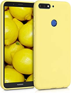 kwmobile TPU Silicone Case for Huawei Y7 (2018)/Y7 Prime (2018) - Soft Flexible Shock Absorbent Protective Phone Cover - Yellow Matte