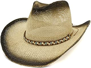 PengCheng Pang Unesex Western Cowboy Hat Outdoor Women Men Travel Sun Beach Hat Visor Rivet Decoration Rectangular Jazz Hat (Color : 3, Size : 56-58CM)