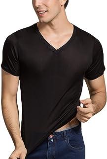 LingDooo Men's Silk Shirt Soft Breathable Sport T-Shirt Underwear Slim Short/Long Sleeve Tops