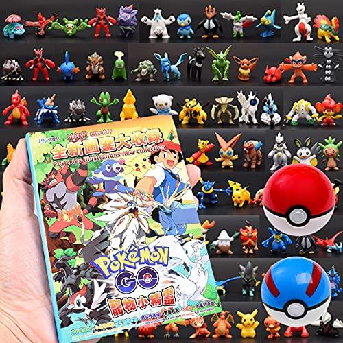 Juego de batalla de Pokémon: 144 figuras de Pokemon + 1 libros ilustrados+2 bolas básicas de poke (7cm) (estándar)