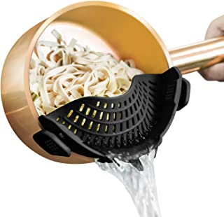 AUOON Strainer with 2 Clip for Veggies Pasta Ground Meat and More for Pots Pans,Heat Resistant Silicone, Black