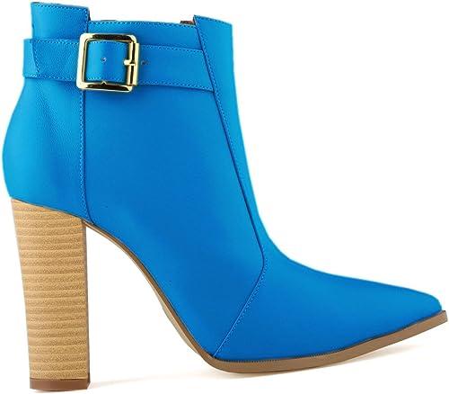 DYF Chaussures Bottes talon haut Rough Wood Grain de haute haute qualité Ceinture Boucle,européenne,Matt bleu 41  meilleure qualité meilleur prix