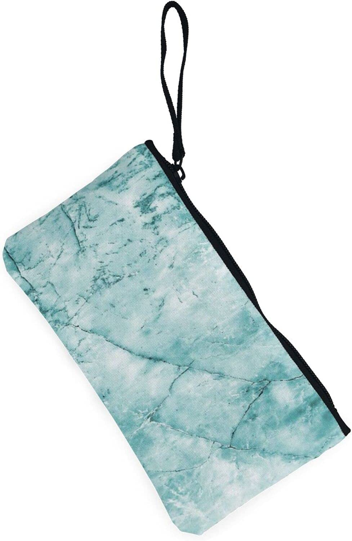AORRUAM Mint Marble Stone Canvas Coin Purse,Canvas Zipper Pencil Cases,Canvas Change Purse Pouch Mini Wallet Coin Bag