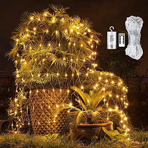 Led Net Lights 9.8ft x 6.6ft 200LED Warm White Battery Operated ,Outdoor String Decorative Lights for Window Wall Sweetheart Table Background Camping Beach [Remote,8 Mode,Timer,Dimmable]