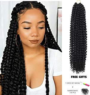 Passion Twist Hair 18 inch Water Wave Braiding Hair 7 Packs 18 Inch Water Wave Crochet Braids for Passion Twist Crochet Hair Passion Twist Braiding Hair 22 strands/pack (18 Inch, 1B)