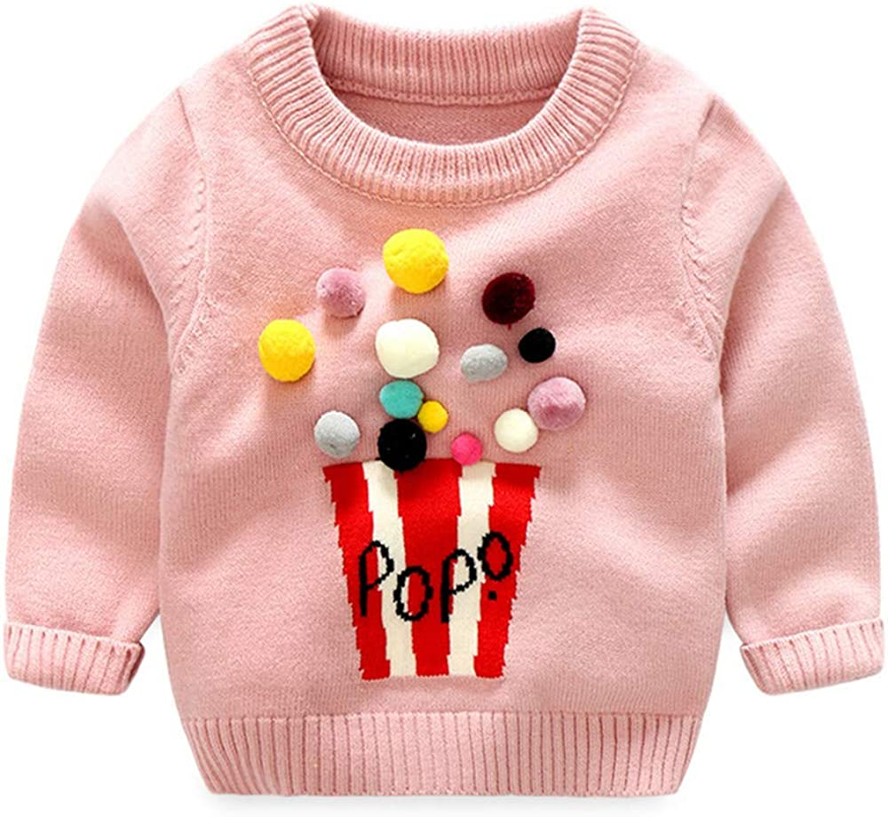 Moyikiss Studio Adorable Girls Pullover Sweaters Long Sleeve Cotton Casual Knit Popcorn Pattern Tops