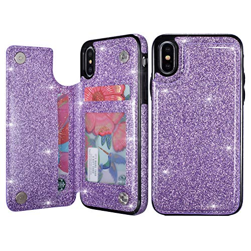 UEEBAI Case for iPhone XR, Premium Glitter PU Leather Case Back Wallet Cover [Two Magnetic Clasp] [Card Slots] Stand Function Durable Shockproof Soft TPU Case for iPhone XR - Purple#2