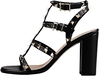 Women's Fashion Heeled Studded Sandals, Open Toe Rivets Gladiator Sandals Ankle Strap Buckle High Heels Shoes