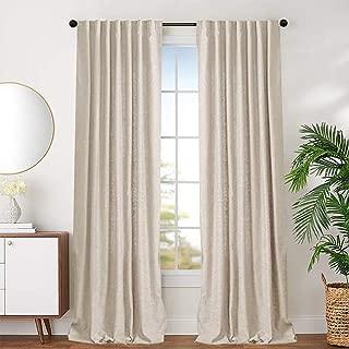 jinchan Beige Cotton Curtains for Bedroom Solid Cotton Curtains 63 inches Long Window Curtain Panels for Living Room Rod Pocket 2 Panels
