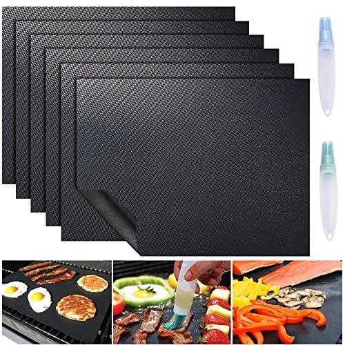 ACMETOP 6 Stück Große Grillmatte, Antihaft BBQ Grillmatte, Wiederverwendbar Grillmatten mit Zwei Ölbürsten, Leicht zu Reinigendes Grillzubehör für Gas, Holzkohle, Elektrogrill - 40 x 50 cm