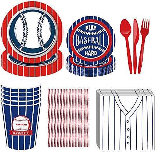 Amycute 69 Stück Baseball Partyzubehör Set, Geburtstag Party Set ,Becher,Teller, Servietten, Gabel Set für Kindergeburtstag Baseball-thematische Partydekor. (1)