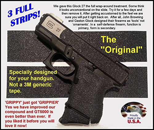 GT-5000 (3 Strips) Grip Tape for Guns, Cell Phones, Cameras, Knives, Tools - Makes Anything Grippy .