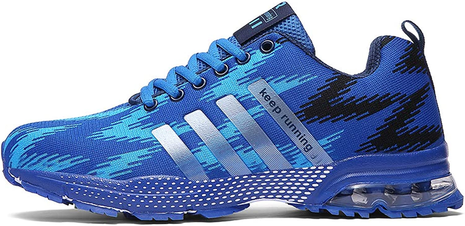 Ahico Men's Running shoes - Air Cushion Fashion Breathable Lightweight Man Sneakers Cross Training Athletic Walking shoes Mans bluee Size 7