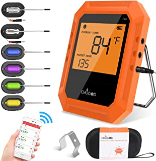 Bluetooth Meat Thermometer, Wireless BBQ Thermometer, Digital Cooking Thermometer for Grilling Smart APP Control with 6 Stainless Steel Probes, Support IOS & Android (orange)