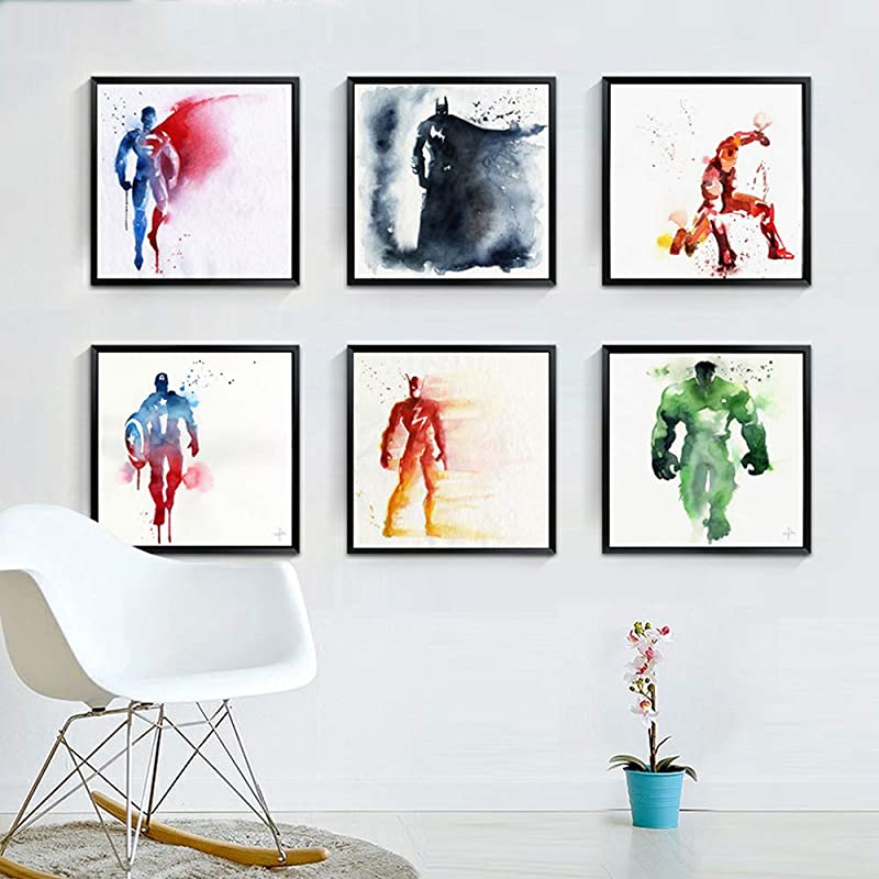 Living Room Superhero Wall Paintings Avengers Wall Art Photos Decorative Painting 6 Large Sheets 11 8x11 8in Hero Character Miracle Canvas Print Art For Children Babies Kids Bedroom Wall Decoration