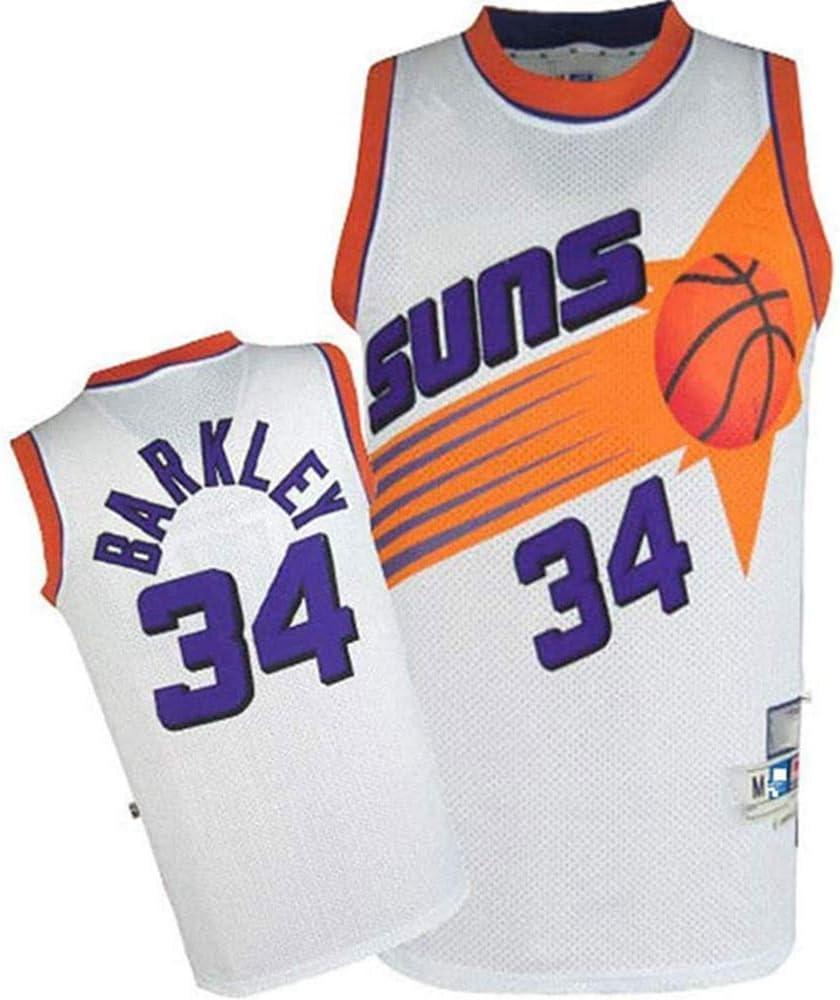 CXJ Mens Basketball Jerseys Phoenix Suns #34 Charles Barkley Jersey,Embroidered Mesh Fan Unisex Sleeveless Jerseys,A,S 165~170CM//50~65KG